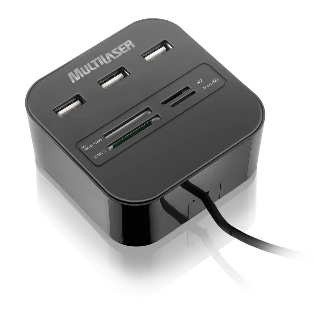 HUB USB 3 Portas + Leitor de Cartão Universal 2.0 AC121 - Multilaser