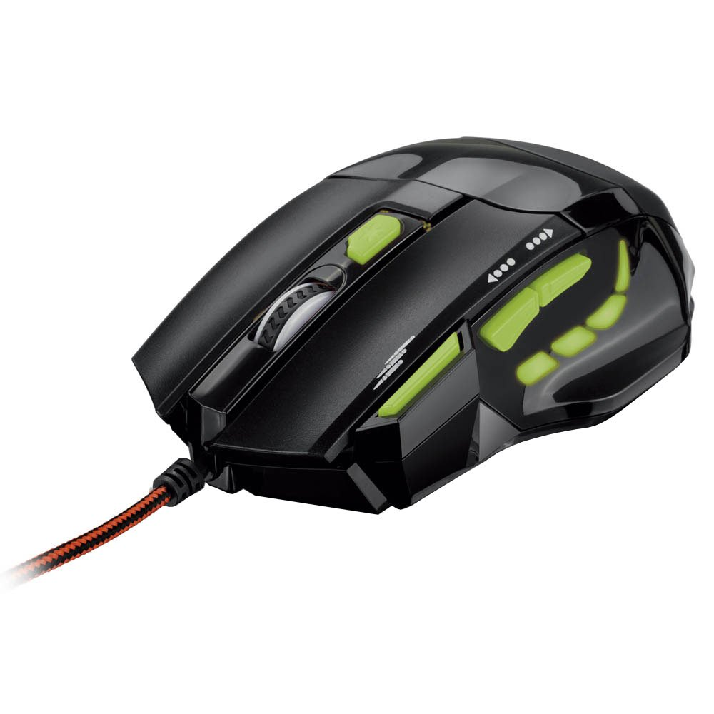 Mouse Optico XGamer Fire Button 2400DPI USB (7 Botões) Preto/Verde MO208 - Multilaser