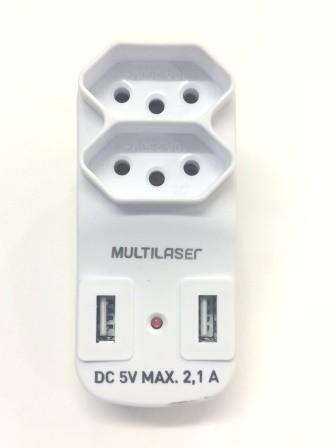 Adaptador 2 Saídas 2P+T com 2 Portas USB 2.1A WI331 - Multilaser