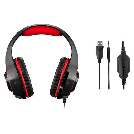 Fone de Ouvido com Microfone Warrior LED Vermelho PH219 - Multilaser