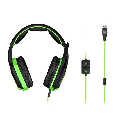 Fone de Ouvido com Microfone Warrior 7.1 3D USB Preto/Verde PH224 - Multilaser
