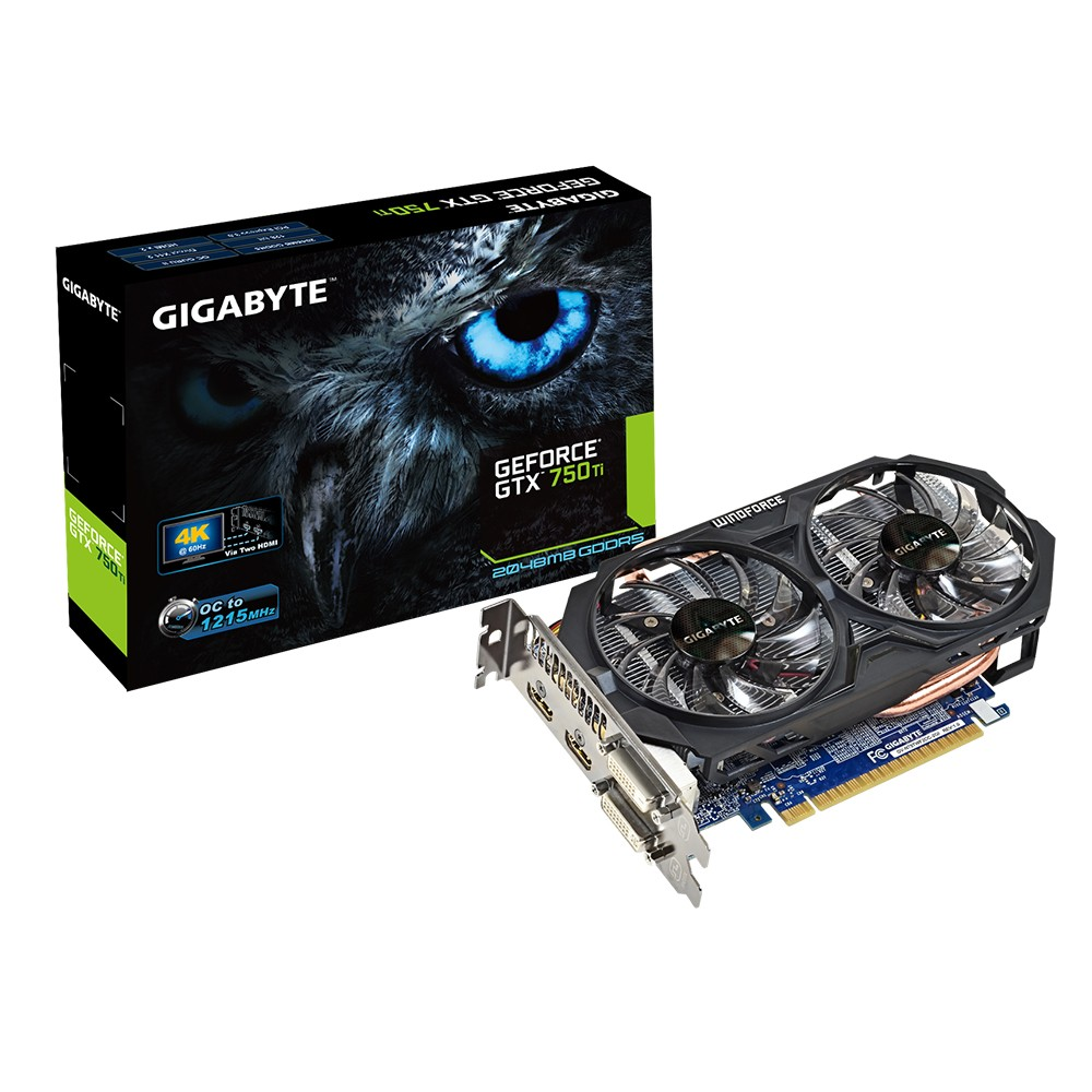 Placa de Video GeForce GTX750TI 2GB DDR5 128Bits OC Windforce GV-N75TWF2OC-2GI - Gigabyte