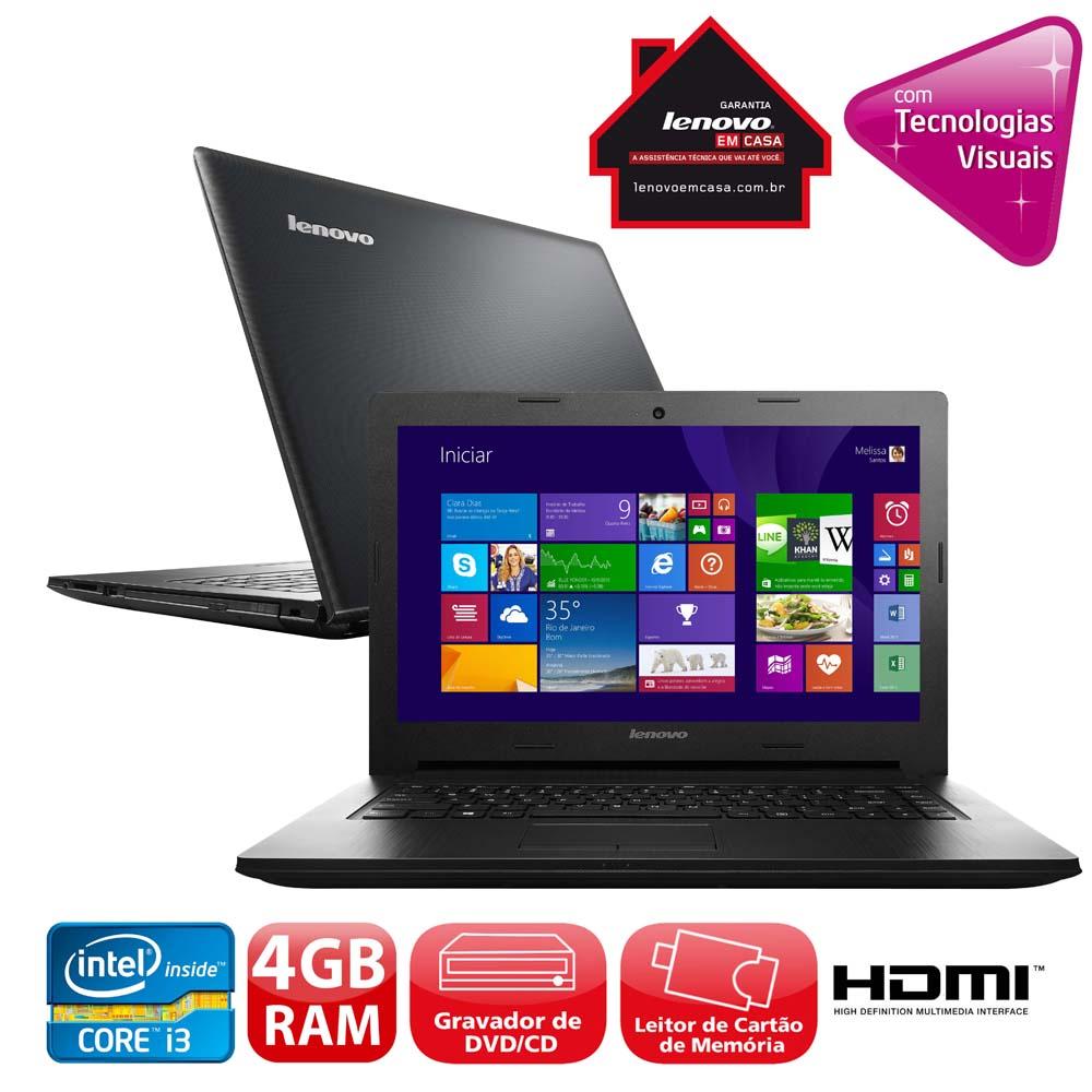 Notebook G400S Core I3-3110M 4GB 1TB Gravador DVD leitor de Cartoes HDMI Wireless Webcam LED 14 e wind 8.1 -Lenovo
