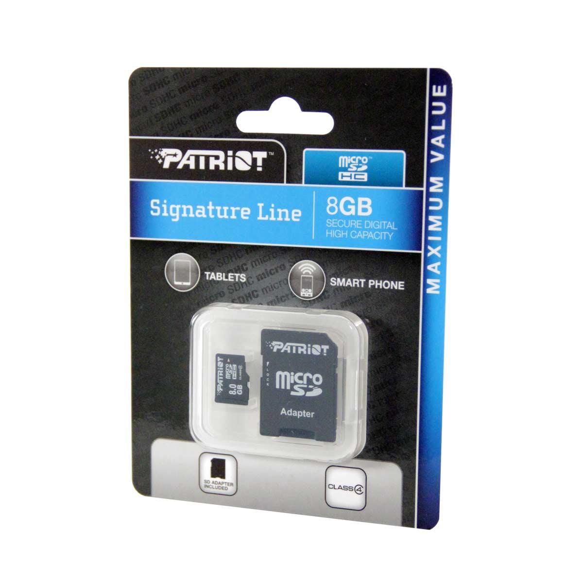 Cartao de Memoria 8GB Micro SDHC Classe 4 Signature Line PSF8GMCSDHC43P - Patriot