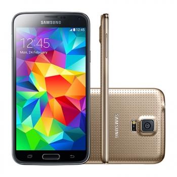 Smartphone Galaxy S5 Android 4.4 Dual Chip Processador Quad Core 2.5 Ghz e Câmera de 16 MP com Flash Dourado LED G900MD