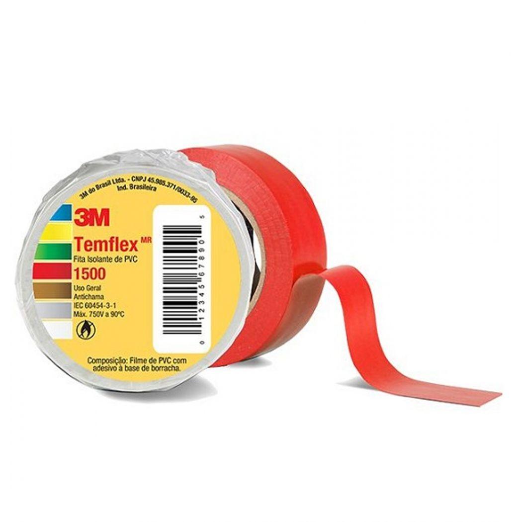 Fita Isolante Templex Vermelha 18mm 30 Metros - 3M