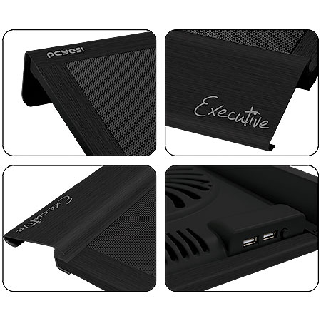 Cooler para Notebook Até 17 Executive em Alumínio Preto 200mm (18539) - Pcyes