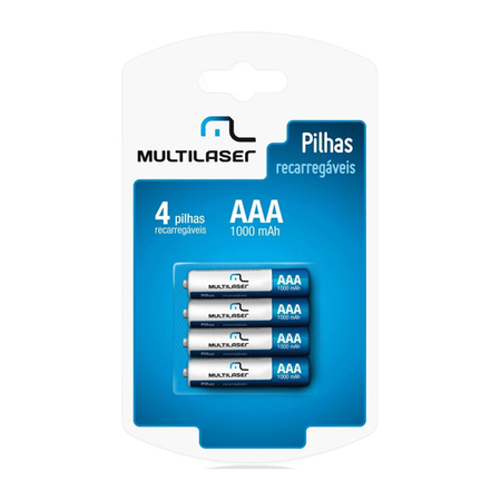 Pilha Recarregável AAA 1000Mhz Blister C/4 Pilhas CB050 - Multilaser
