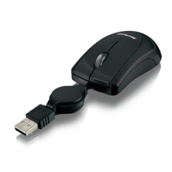 Mouse Retrátil Mini Piano Preto USB MO159 - Multilaser
