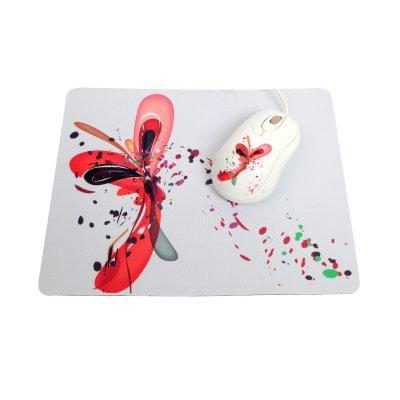Mouse com Mouse Pad Branco com Desenho Tipo Aquarela - [PJT-DMS595] - Kolke