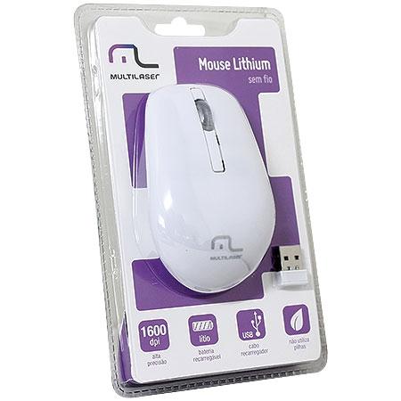 Mouse Sem Fio 2.4Ghz Bateria de Lítio Branco MO188 - Multilaser