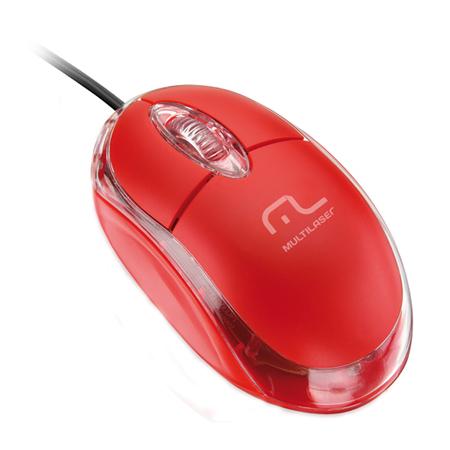 Mouse USB Classic Optico Vermelho MO003 - Multilaser
