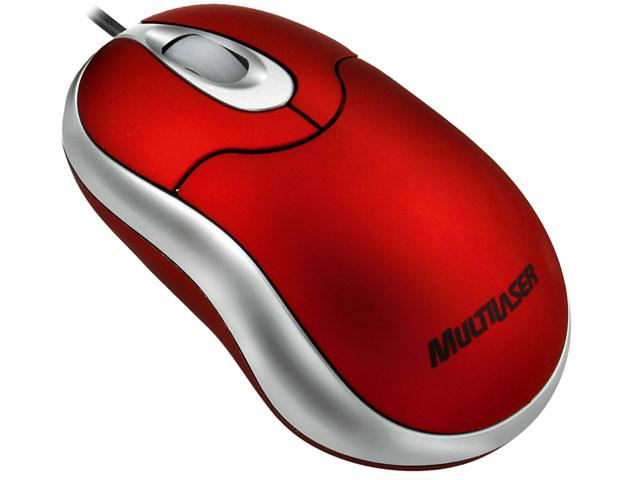 Mini Mouse Óptico USB Emborrachado Vermelho MO120 - Multilaser