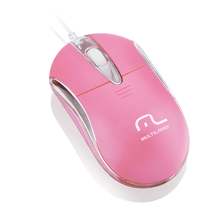 Mouse Óptico USB Classic 2 Rosa MO170 - Multilaser