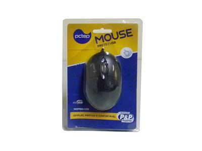 Mouse MOPR01-USB, Conexão USB, Óptico, 800dpi, Cor Preto - Pctop
