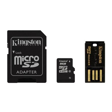 Cartão de Memória MicroSDHC 8GB Class 10 + Adaptador e Pen Drive - MBLY10G2/8GB - Kingston