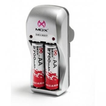 Carregador de Pilhas AA/AAA e Bateria 9V MO-837 (Acompanha 2 pilhas AA 2700mAh) - MOX