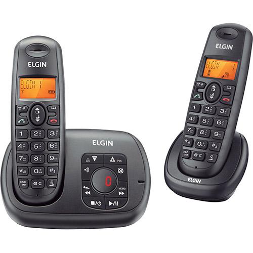 Telefone sem Fio com Ramal Preto TSF 702SE com Secretária Eletrônica e Identificador de Chamada - Elgin