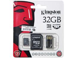 Cartão de Memória 32GB Micro SDHC Class 10 Com 2 Adaptadores MBLY10G2/32GB - Kingston