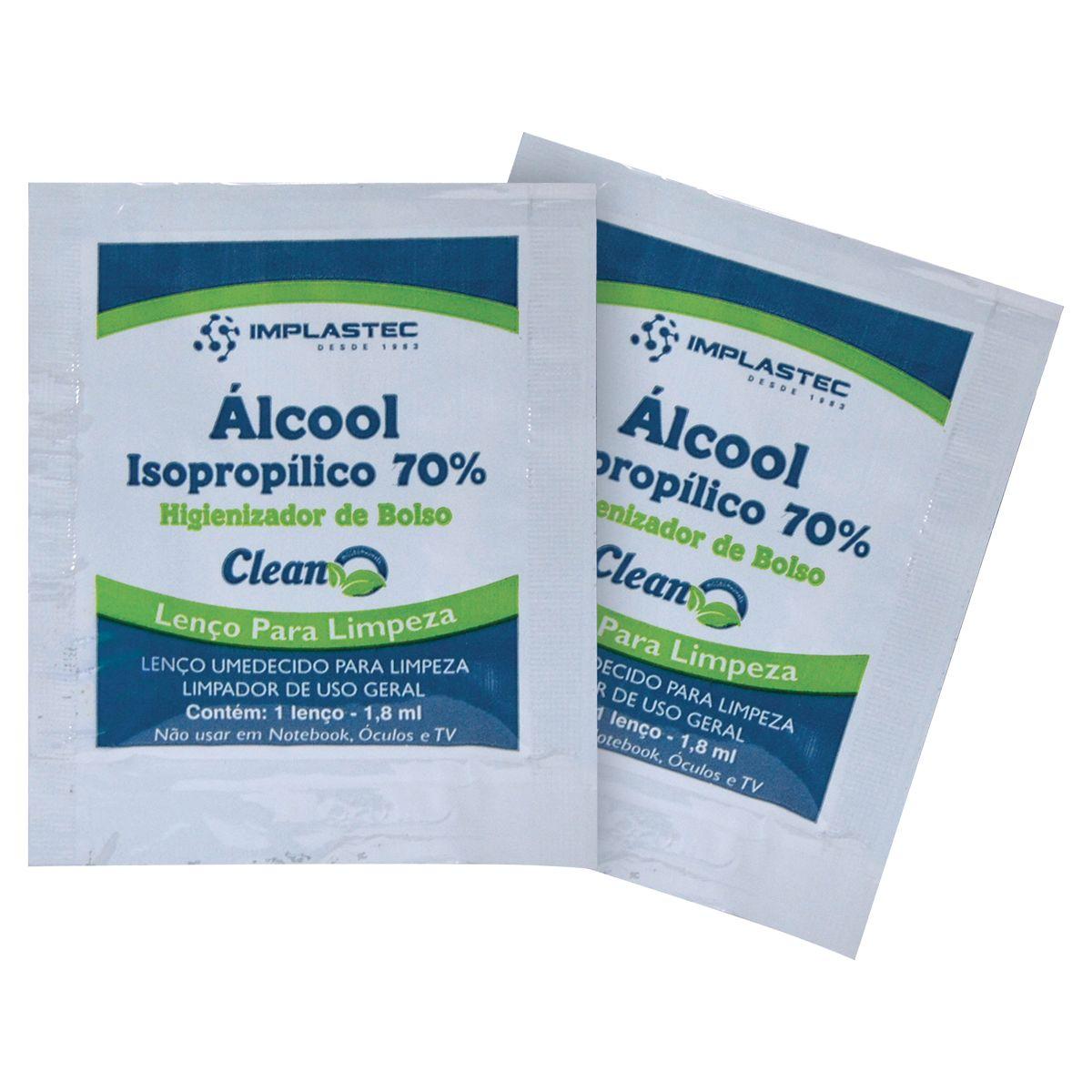 Álcool Isopropílico 70% Sache Lenço Umedecido Caixa com (unidade) - Implastec