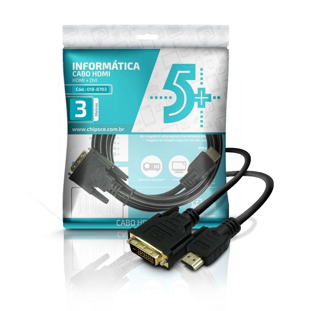 Cabo Dvi 24+1 + HDMI Macho 3 Metros 018-8703 - Chip sce
