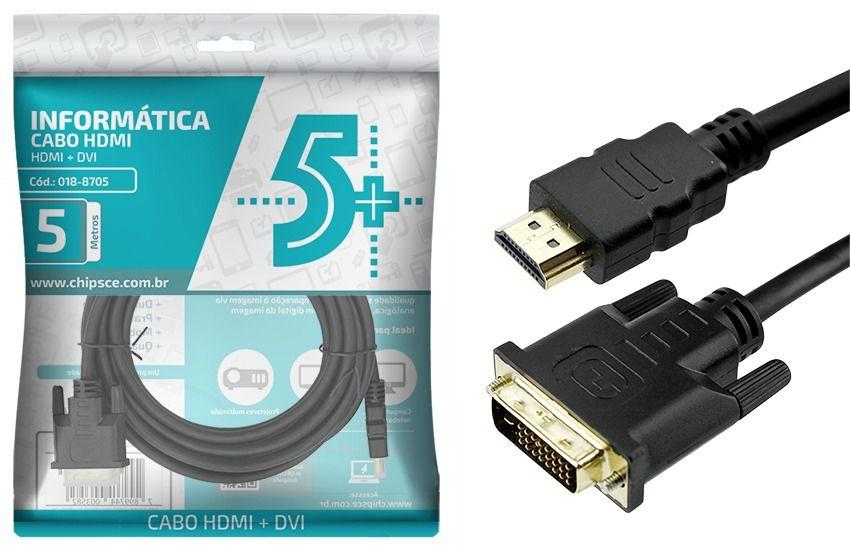 Cabo Dvi 24+1 + HDMI Macho 5 Metros 018-8705 - Chip sce
