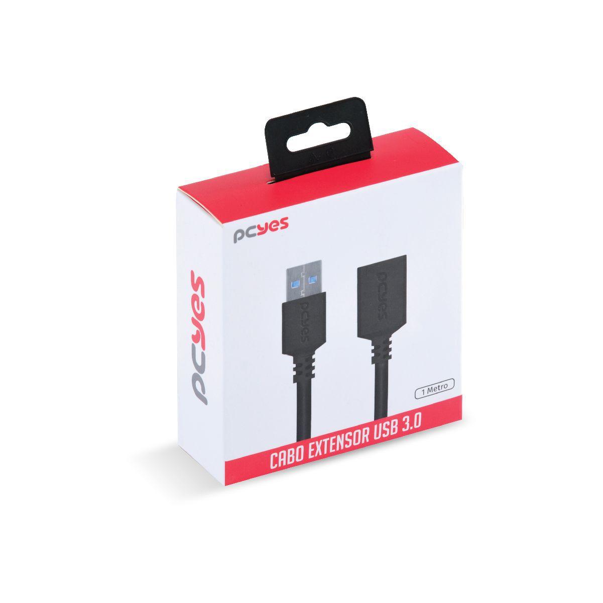 Cabo Extensor USB A 3.0 Macho para USB A 3.0 Fêmea 28AWG Puro Cobre 1 Metro PUAMF3-1 29303 - Pcyes