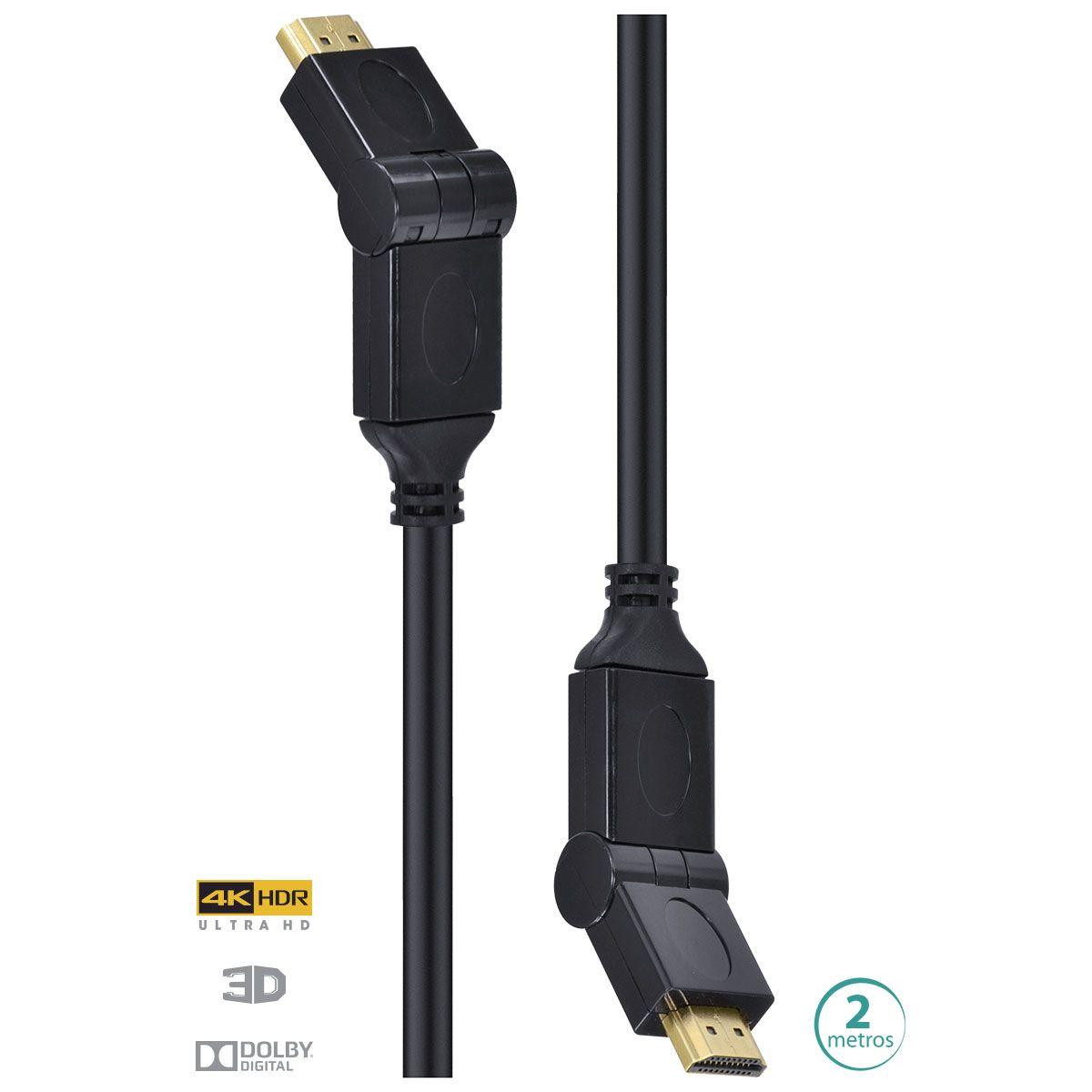 Cabo HDMI 2.0 4K Ultra HD 3D Conexão Ethernet Conectores 180° 2 Metros H20B180-2 29253 - Vinik