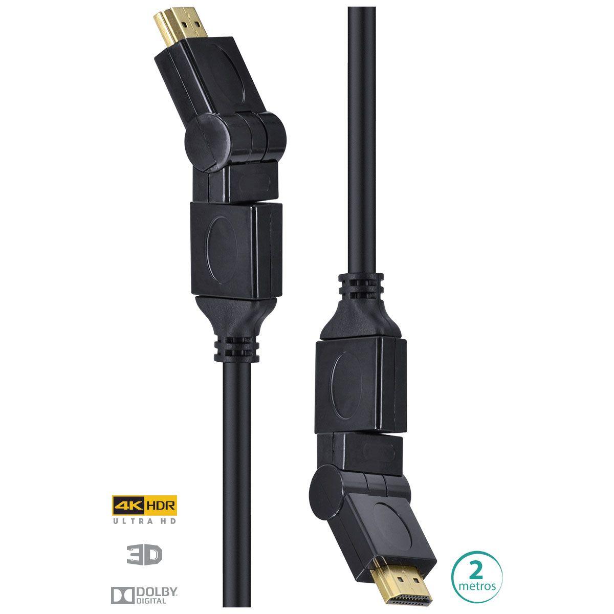 Cabo HDMI 2.0 4K Ultra HD 3D Conexão Ethernet Conectores 360° 2 Metros H20B360-2 29254 - Vinik