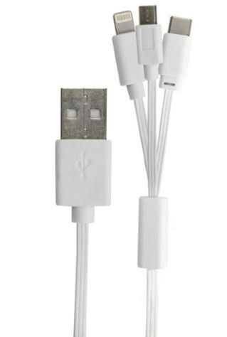 Cabo USB A-Macho Apple/Micro-USB/USB-C 1,0 Metros 018-0061 - Chip Sce