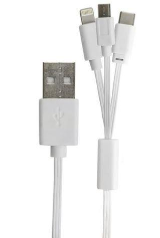 Cabo USB A-Macho Apple/Micro-USB/USB-C 1,0 Metros 018-0061 - Chip Sce