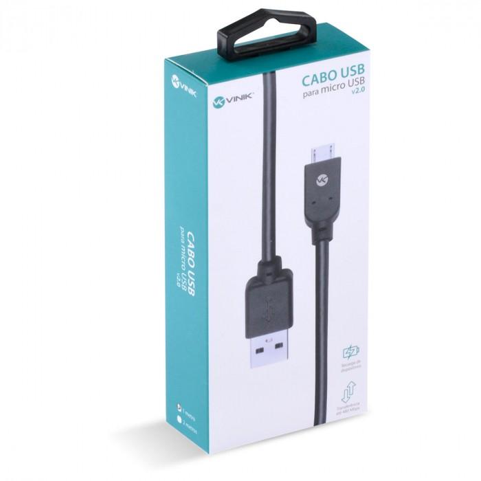 CABO USB X MICRO USB B 2.0 5 PINOS 1 METRO PRETO MUSB-1 31454 - VINIK