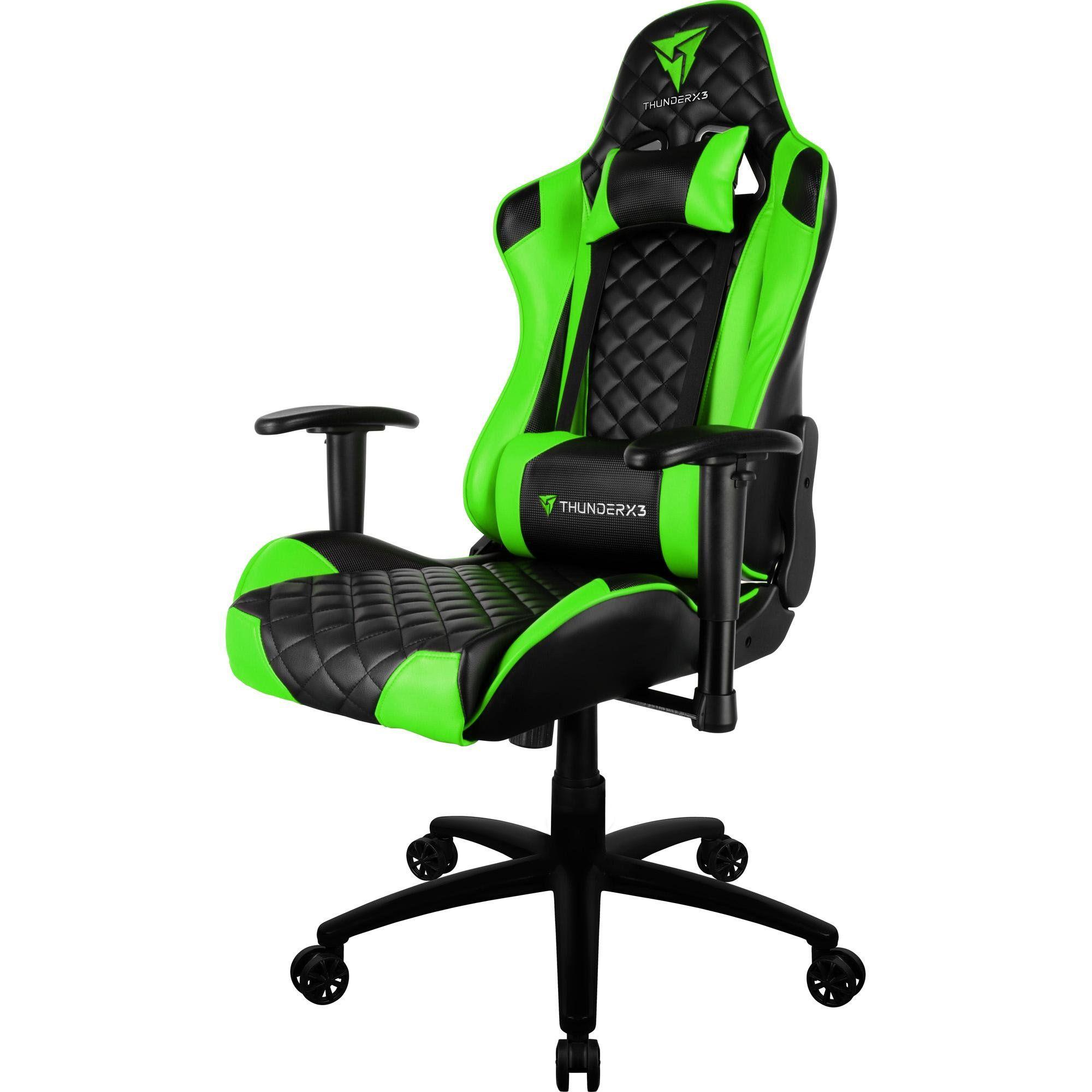 Cadeira Gamer Profissional TGC12 Preta/Verde - ThunderX3
