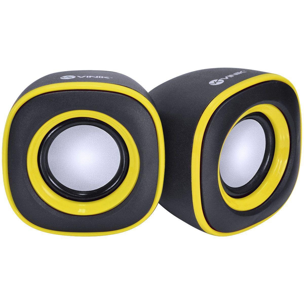 Caixa de Som 2.0 Effect 4W Controle de Som Preto com Amarelo 29690 - Vinik