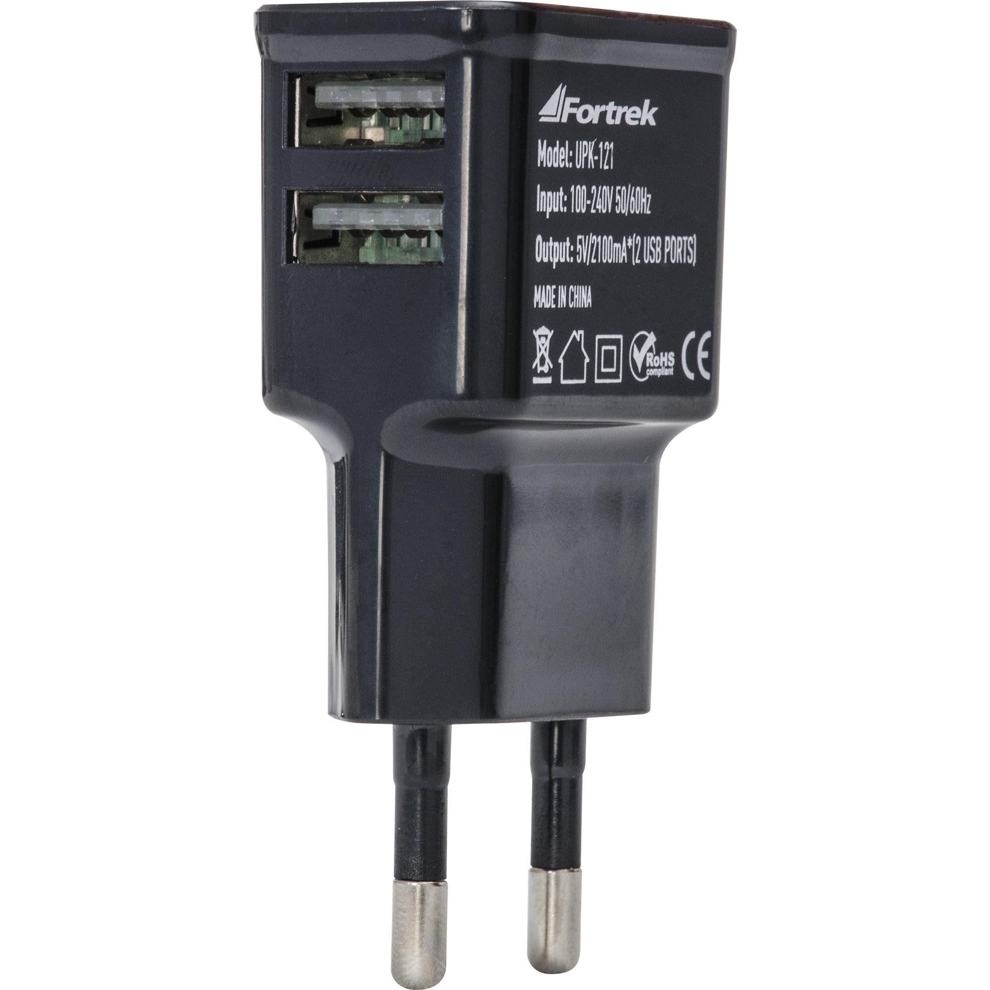 Carregador USB 5V com 2 Portas USB 2.1A UPK-121 Preto 61940 - Fortrek