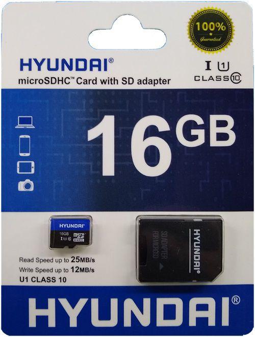 Cartão de Memória Micro SD 16GB + 1 Adaptador Classe 10 HYUSDSI16GU1 - Hyundai