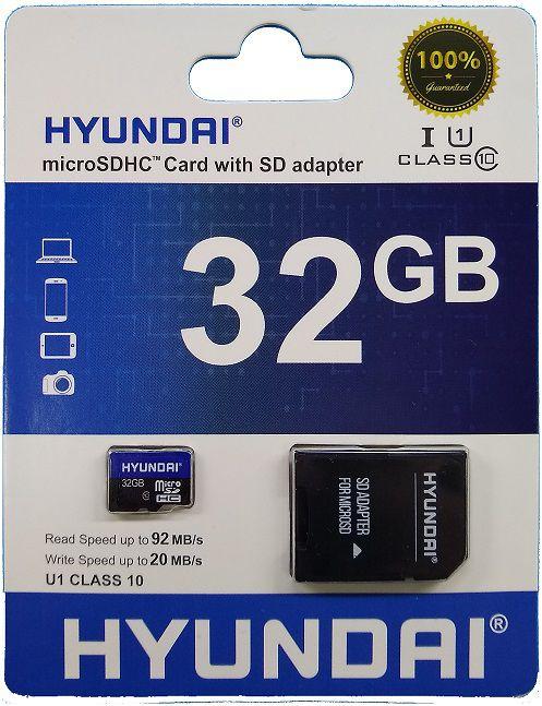 Cartão de Memória Micro SD 32GB + 1 Adaptador Classe 10 HYUSDSI32GU1 - Hyundai