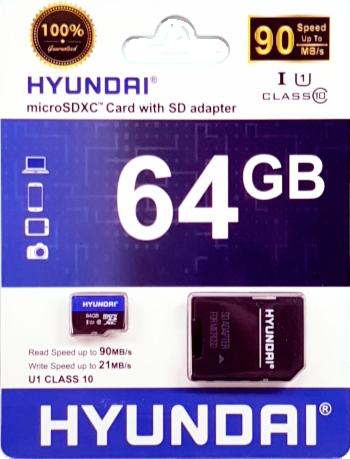 Cartão de Memória Micro SD 64GB + 1 Adaptador Classe 10 HYUSDSI64GU1 - Hyundai