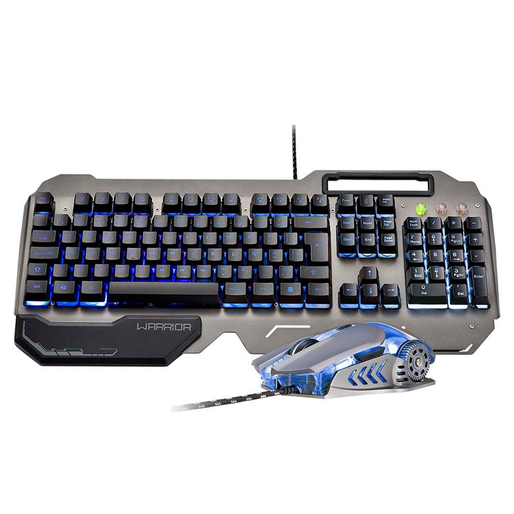 Combo Gamer Warrior Teclado Ragnar, Semi Mecânico, LED 3 Cores, com Superfície em Metal e Mouse Keon LED 4 Cores TC223 -  Multilaser