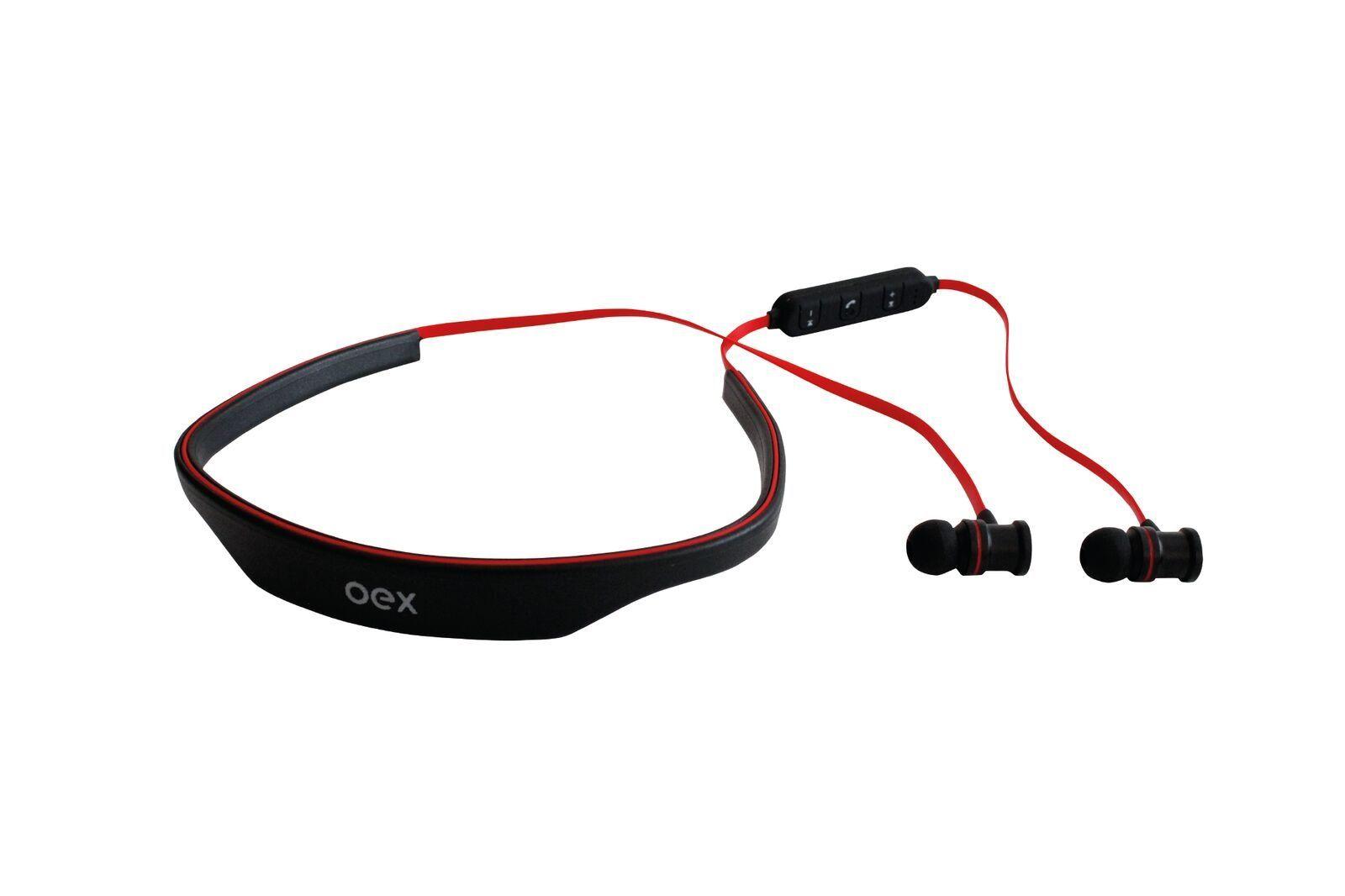 Fone de Ouvido Esportivo Bluetooth HS302 Preto/Laranja - OEX
