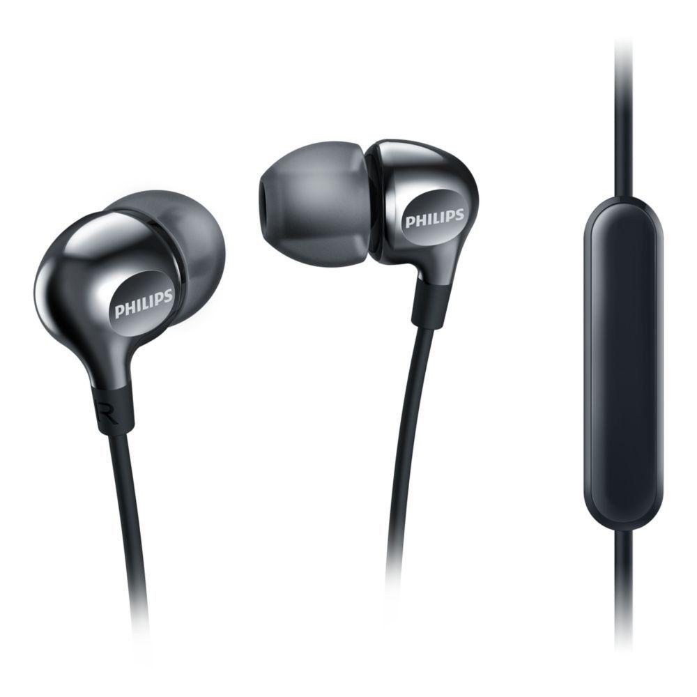 Fone de Ouvido Intra Auricular Com Microfone SHE3705BK/00 Preto - Philips