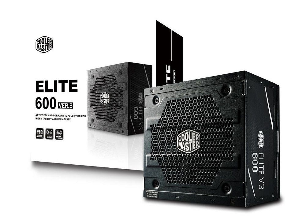 Fonte ATX Elite V3 PFC Ativo 600W MPW-6001-ACAAN1-WO - Coolermaster