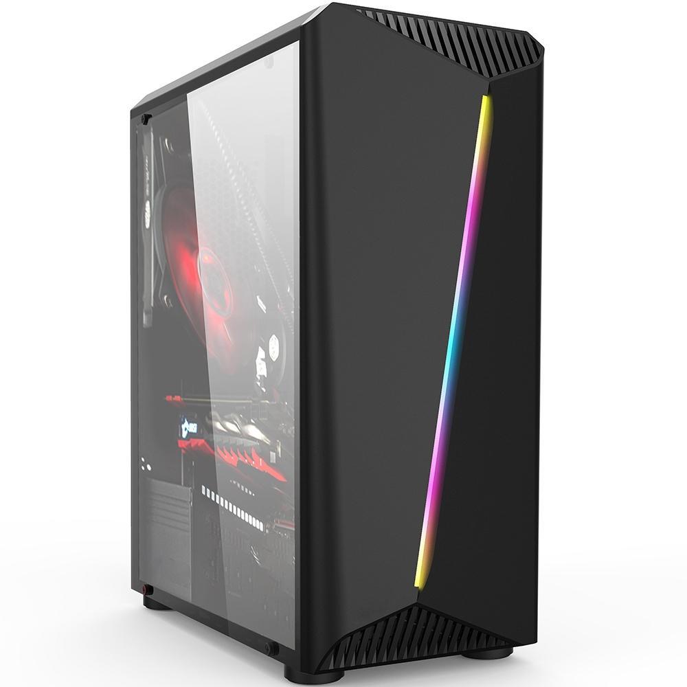 Gabinete ATX Gamer Lighting RGB (Lateral em Vidro Temperado) Preto - Liketec