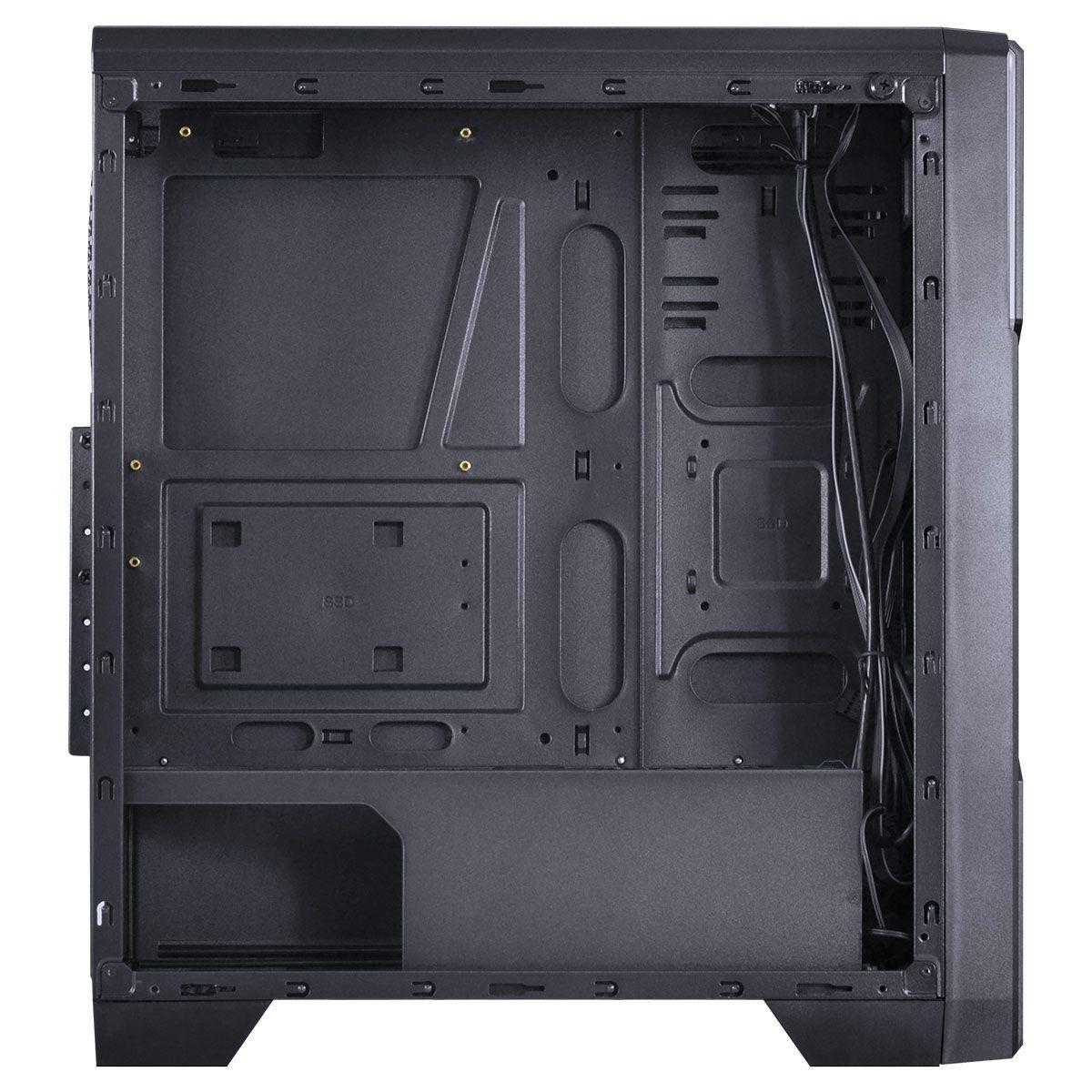 Gabinete ATX Gamer Tron Preto 7 Cores LED Janela Acrílico Fume Full Window 09GATR-7 - Vinik