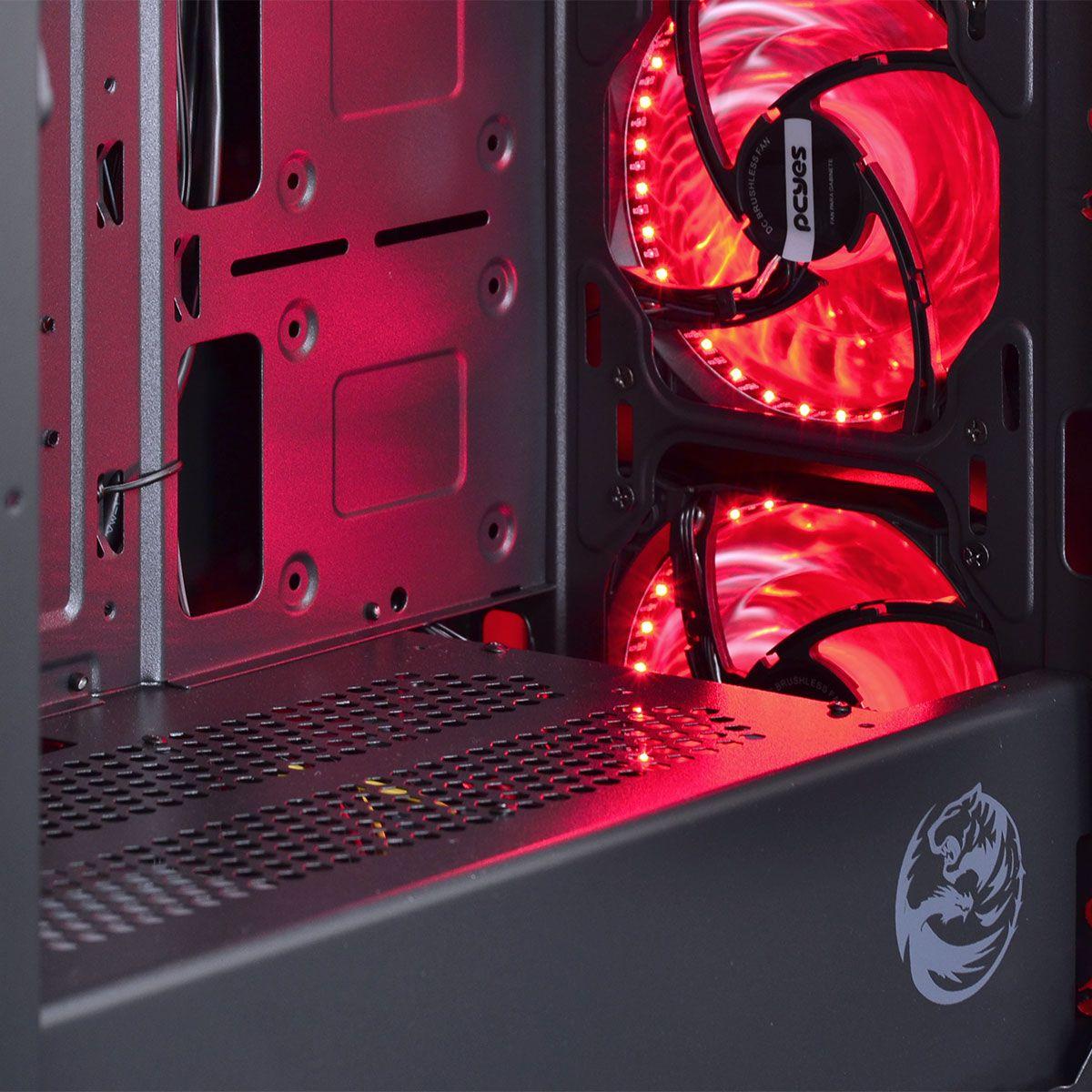 Gabinete ATX Tank Vermelho/Preto com LED Vermelho e Topo Vidro Temperado e Lateral em Acrílico TANPVVM3FCVT - Pcyes