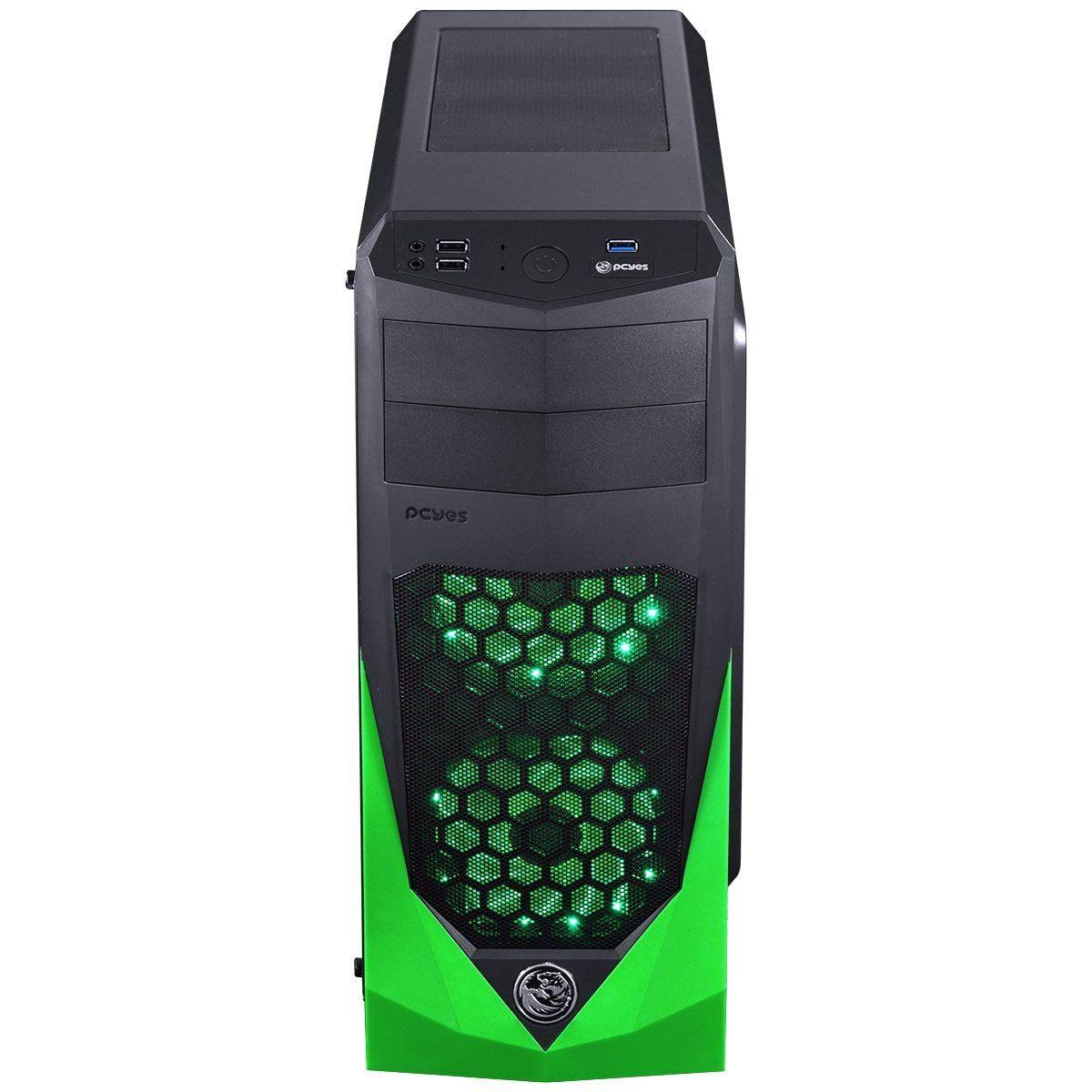 Gabinete ATX VTI Verde com 3 Fans LED Verde Lateral em Acrílico VTIPTOVD3FCAF - Pcyes