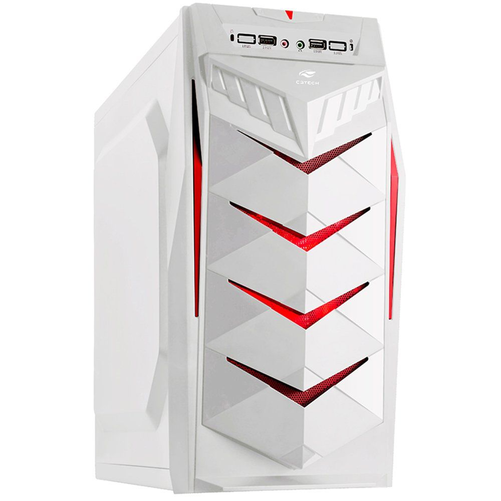 Gabinete Gamer sem Fonte, Mid Tower, Branco MT-G70WH - C3 Tech