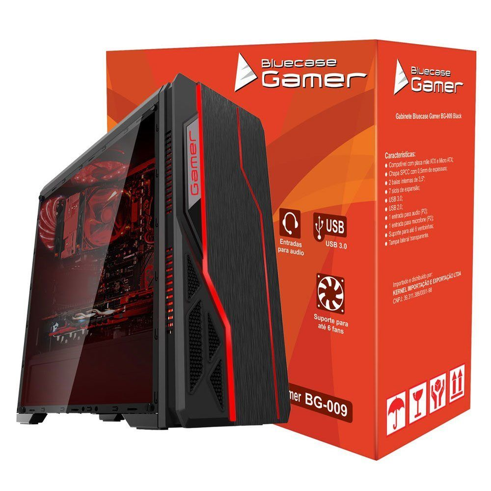 Gabinete Gamer sem fonte USB 3.0 Preto BG-009 - Bluecase