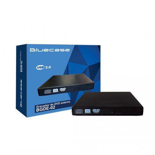 Gravador de CD/DVD Externa Slim USB 2.0 BGDE-02 - Bluecase
