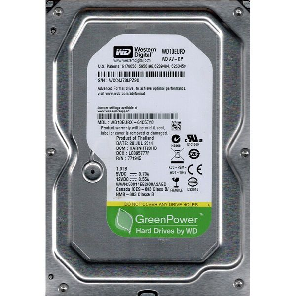 HD 1TB Sata III Green WD10EURX  7200RPM 64MB - Western Digital